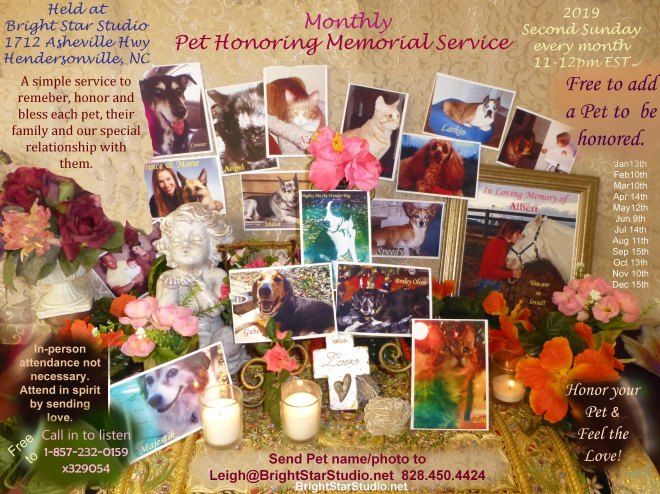 Monthly Pet Memorial Honoring Service 2019